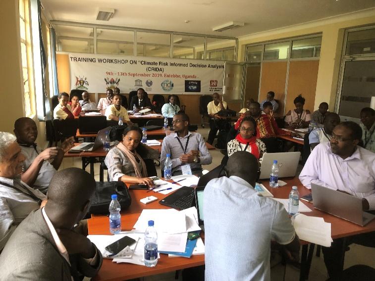 Participants collaborating at the CRIDA training course, Entebbe, Uganda.